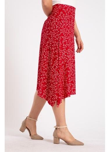 Madame Sare  Kadın Kırmızı Çiçek Desenli Etek Kırmızı